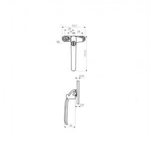 DAL® CW-M4 KEY Casement Handle with Key - Right or Left