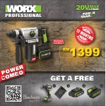 WORX WU930 Combo kit Lowest Price in town! ( WU388 Rotary Hammer + WU172 Cordless Drilldriver)