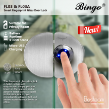Bingo® FL03 Glass To Glass  Smart Fingerprint Glass Door Lock