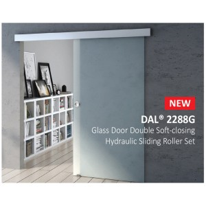 Glass Door Double Soft closing Hydraulic Sliding Roller with Track and Cover |  DAL® 2288G