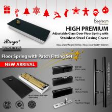 Black Series Floor Hinges / Spring / Door closer & Patch Fitting Lock Set for Glass Door | Bingo®
