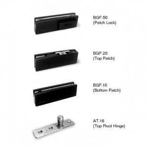 Black Series Floor Hinges / Spring / Door closer & Patch Fitting Lock Set for Glass Door | Bingo®