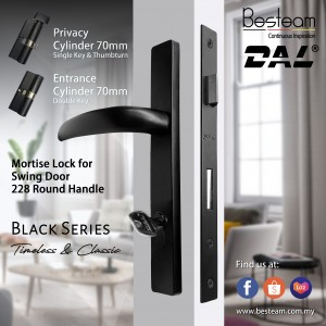 Swing Door Handle Mortise Lock Single/Double Key | DAL® 228 Round Design