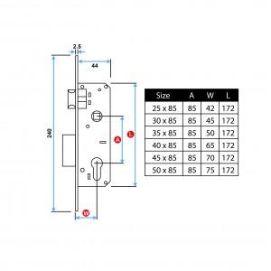 Swing Door Mortise Lock Stainless Steel | DAL
